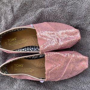 Toms pink sparkle women's sz 7 shoes
